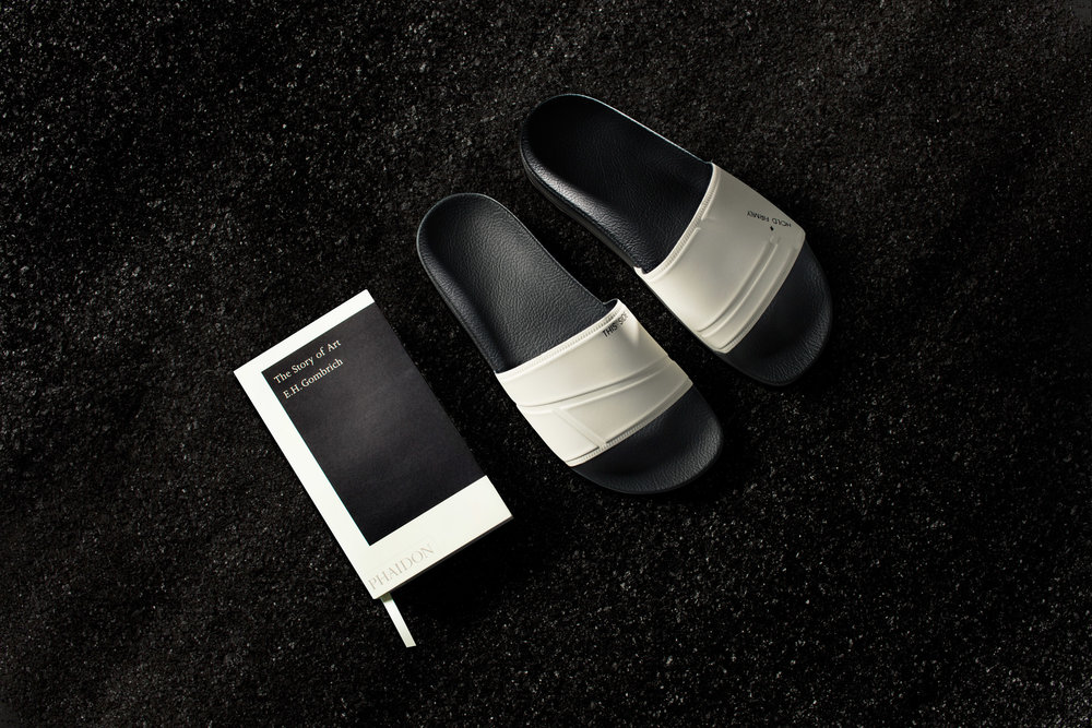 Raf Simons + Adidas sandals and The Story of Art pocket edition