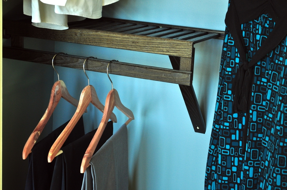 Shelf with garment rod