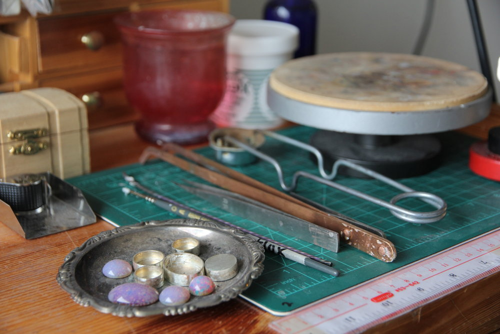 Samantha's workbench. Photographed by Hailey McAdams.