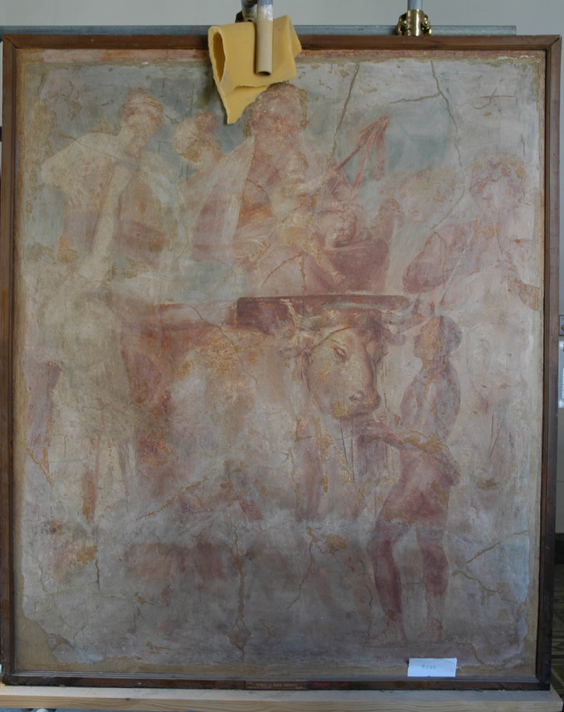 Figure 3: West wall. Photo Courtesy: Museo Archeologico Nazionale di Napoli, 9285. Accessed via the Expeditio Pompeiana Universitatis Helsingiensis.