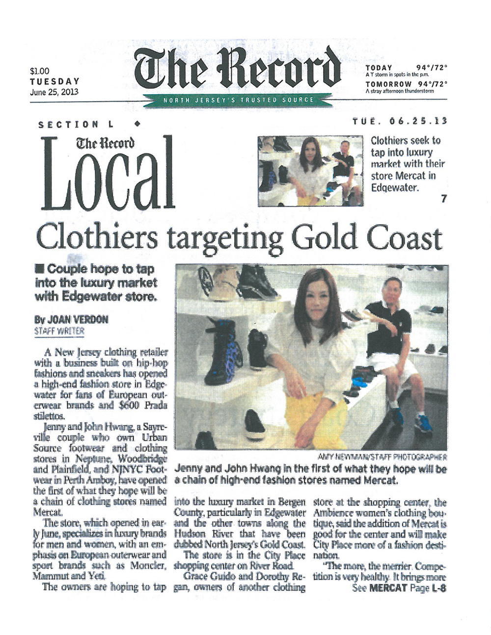 Ran-H Corporation / Mercat on The Record News Paper :  http://www.northjersey.com/news/edgewater-clothing-store-to-focus-on-luxury-brands-1.605084