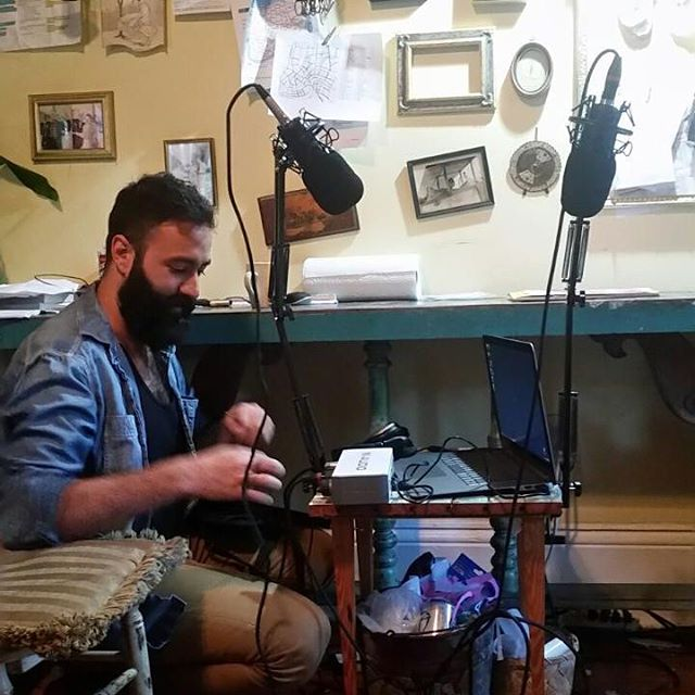 Setting up in NOLA at the awesome apartment of @lady__delaney who I forgot to take a picture with. Photo courtesy of @lady__delaney #podcast #minatures #art #thegeneralist #costumedesign #etsy