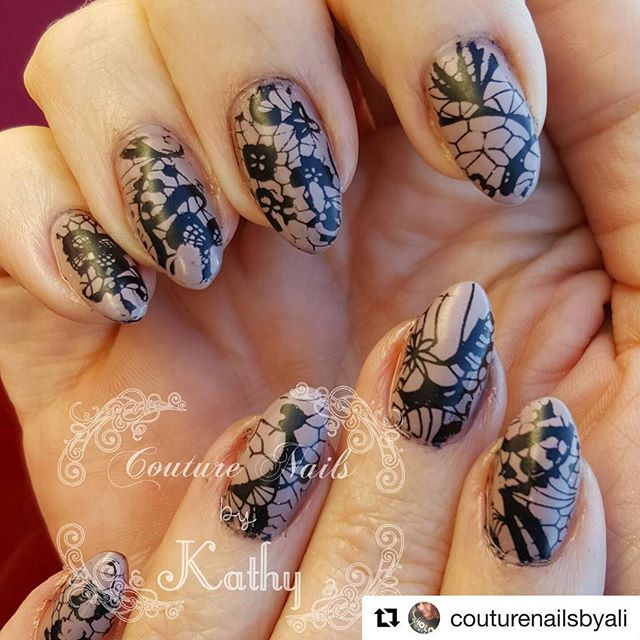 Matte Lace Nail stamping by @couturenailsbyali