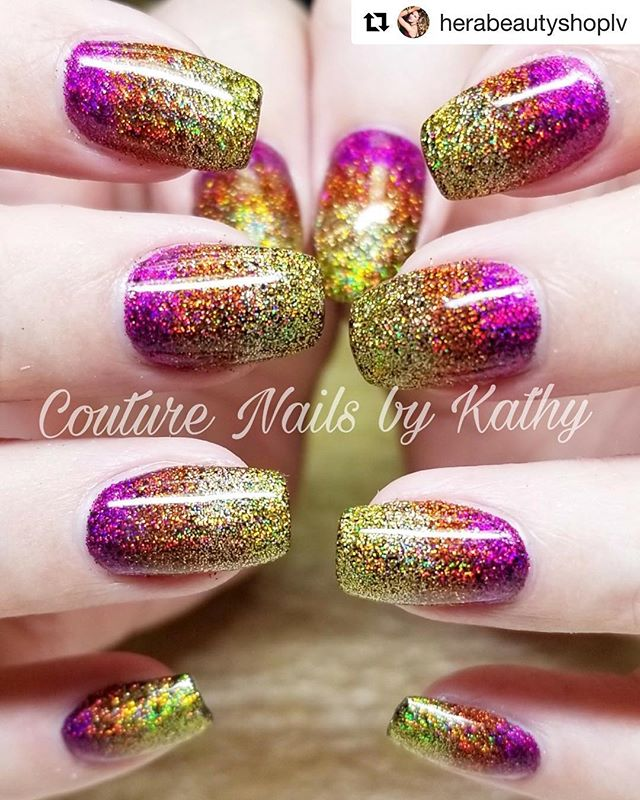 Sunset glitter ombré nails by @couturenailsbyali