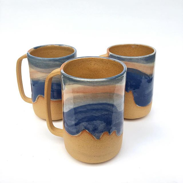 It's still Monday here, so here's my #mugshotmonday ! These are a few of my @joshuatreenps inspired mugs I made up here at Quyle Kilns! I think I'll be hosting a sale before I hit the road to @penland with some of the goods I've gotten to make this last month, so STAY TUNED!!! • • • #ceramics #cremerging  #wheelthrown #mugs #shimpo #maker #handmade #craft #learningbydoing #studio #quylekilns #clay #makersmovement #alwayslearning #travelingpotter #nomadicpotter #makersgonnamake #joshuatree #joshuatreenationalpark #inspiredbynature