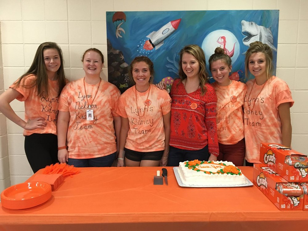 Lynn's strong school support  Community Service Project  The school Lynn works at hosted a project, they selected the National Kidney Foundation as their Community Service Project and conducted a huge walk to get the word out for Lynn!