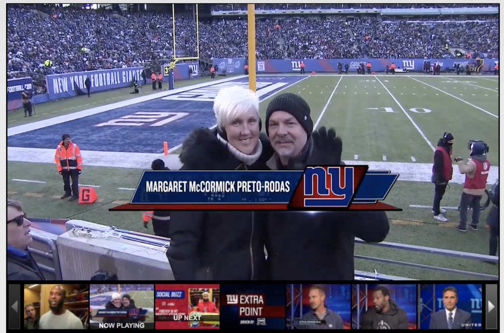 "Giants honor fan who started chain of kidney donations  The Giants honored Margaret McCormick Preto-Rodas during their Week 14 game against the Dallas Cowboys for starting a ""kidney chain"" of donations."