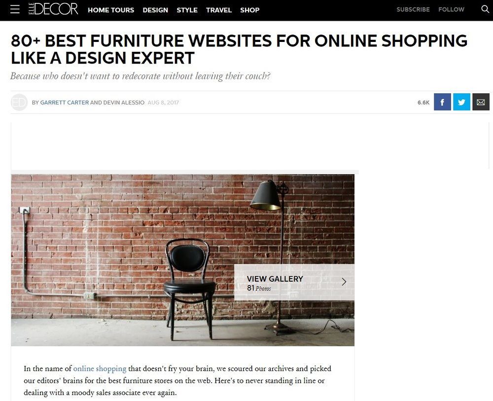 We are thrilled to announce that our client modern relik has been named 3 in elledecor coms best furniture websites for online shopping like a design