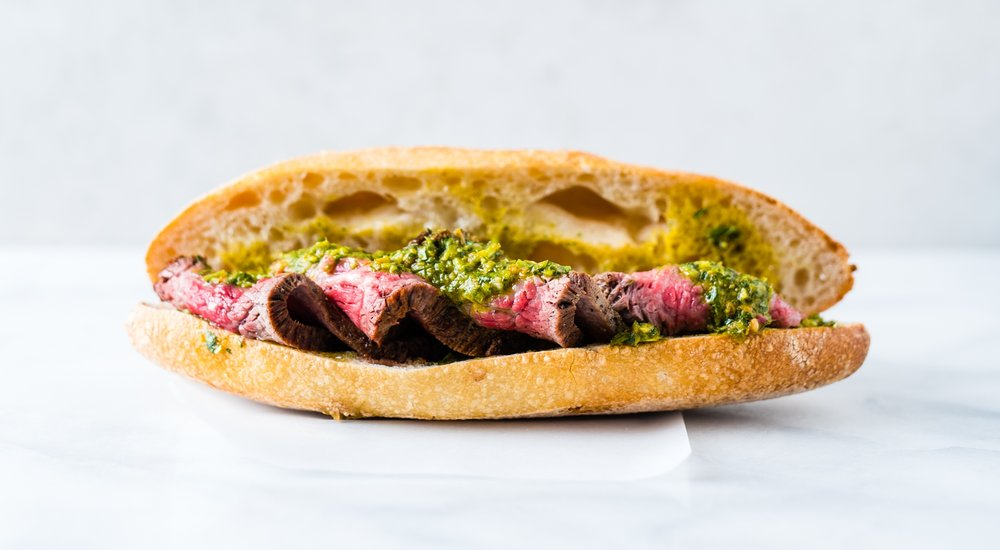 Steak +Salsa Verde - ROASTED TRI-TIP, SALSA VERDE, TUNISIAN OLIVE OIL, BAGUETTE - $11.95