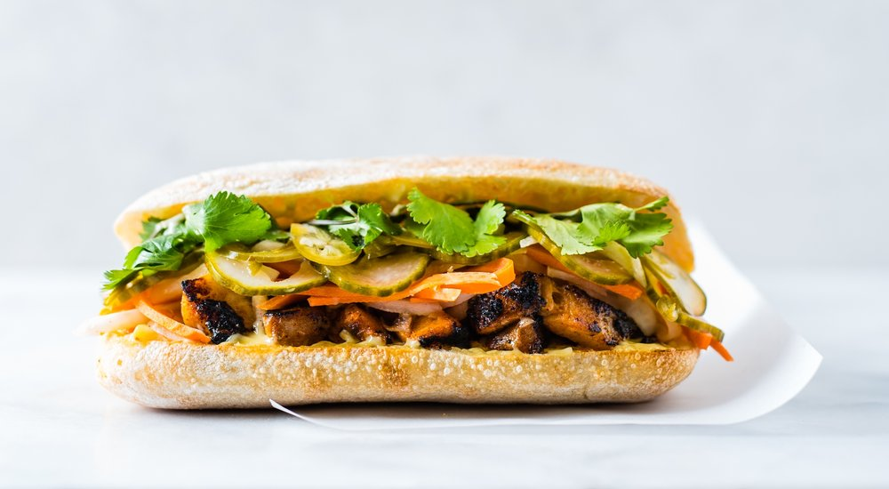 Pork + Pickles - CHILE-MUSTARD PORK BELLY, ASIAN PICKLES, CILANTRO, KOJI MAYO, CIABATTA (SPICY) - $9.95