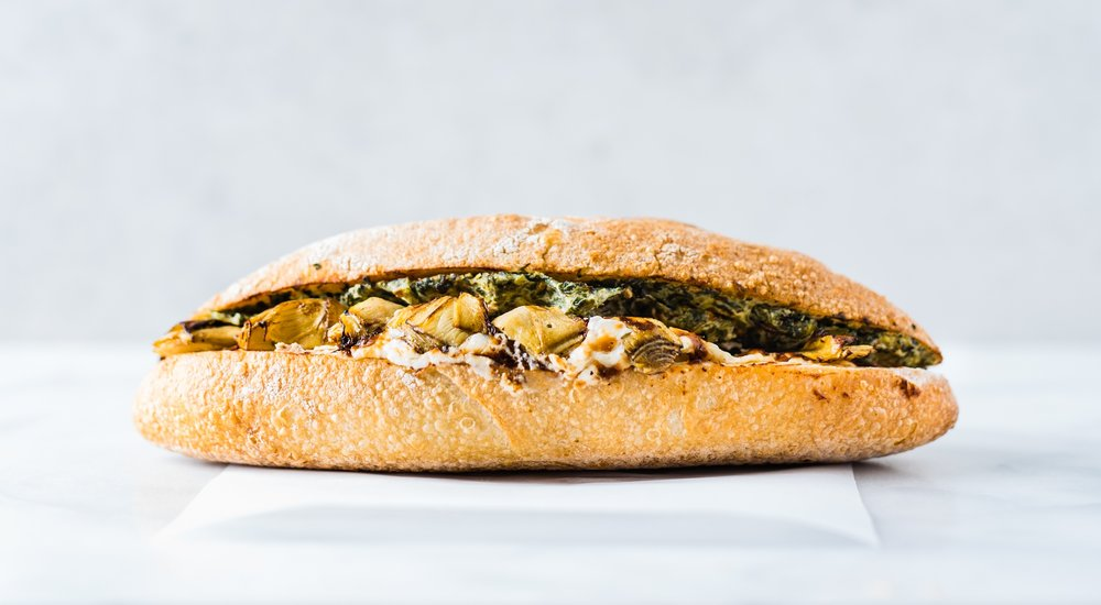 Spinach + Artichoke - ROASTED ARTICHOKE, SPINACH, PARMIGIANO REGGIANO CREAM, BAGUETTE - $9.95