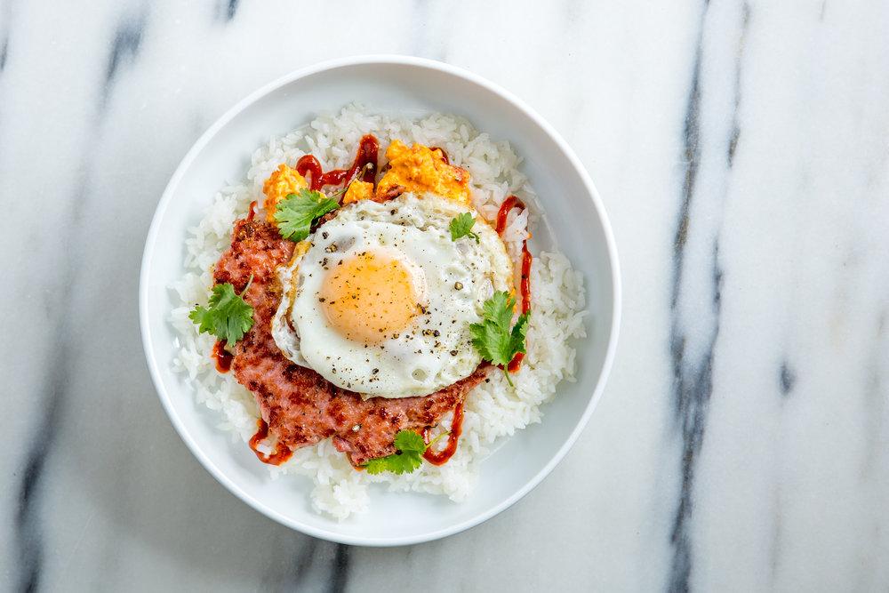 Brekky Sando Bowl - Organic Egg + Sausage + Pimento Cheese +Chile Sauce + Rice - $9.95