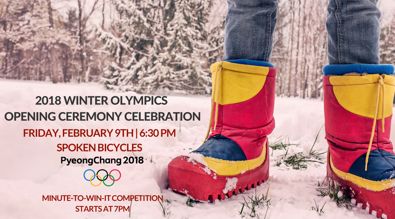 Celebrate the Winter Olympics with us! We'll be having a special party kicking off at 6:30pm while we watch the opening ceremonies.  Feel free to dress in your favorite country's colors! Come for the party - stay for the glory. We will also be featuring a Minute-To-Win-It competition with a chance to win gold! (a gold medal that is...) All participants for the competition MUST sign up online.  The competition will begin at 7:00pm.  Please stay tuned for more competition details.