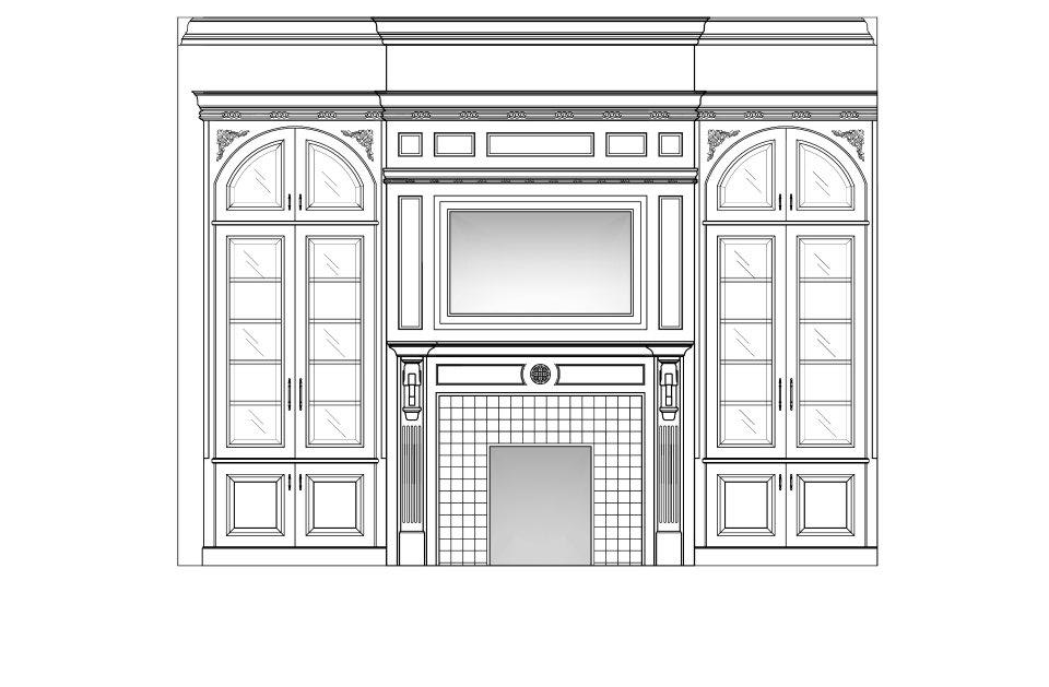 Fireplace elevation with built in bookcase and framed tele