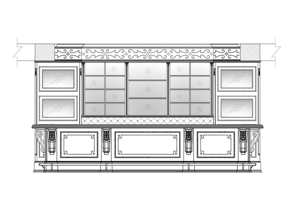 Bar elevation with four integrated televisions and custom nail-head design and leather upholstered soffit