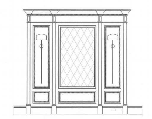 Rear staircase paneled wall elevation. Alder wood antique mirror tile in center panel. Leather on interior side panels with large square iron nail heads.