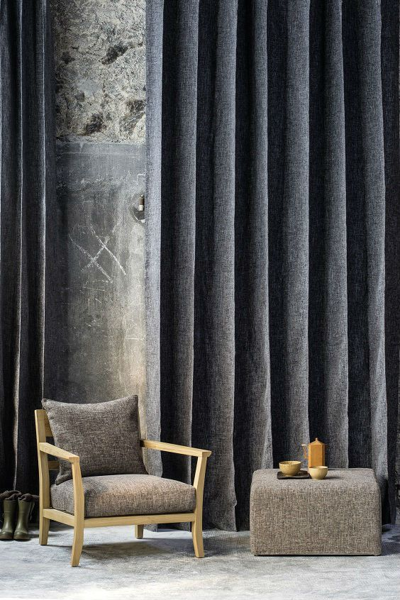 Tweed-like Tailor fabric drapes from Elitis