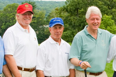 Donald Trump, Michael R. Bloomberg and Bill Clinton in 2008 at the Joe Torre Safe at Home Foundation Golf Classic. Rick Odell/Getty Images