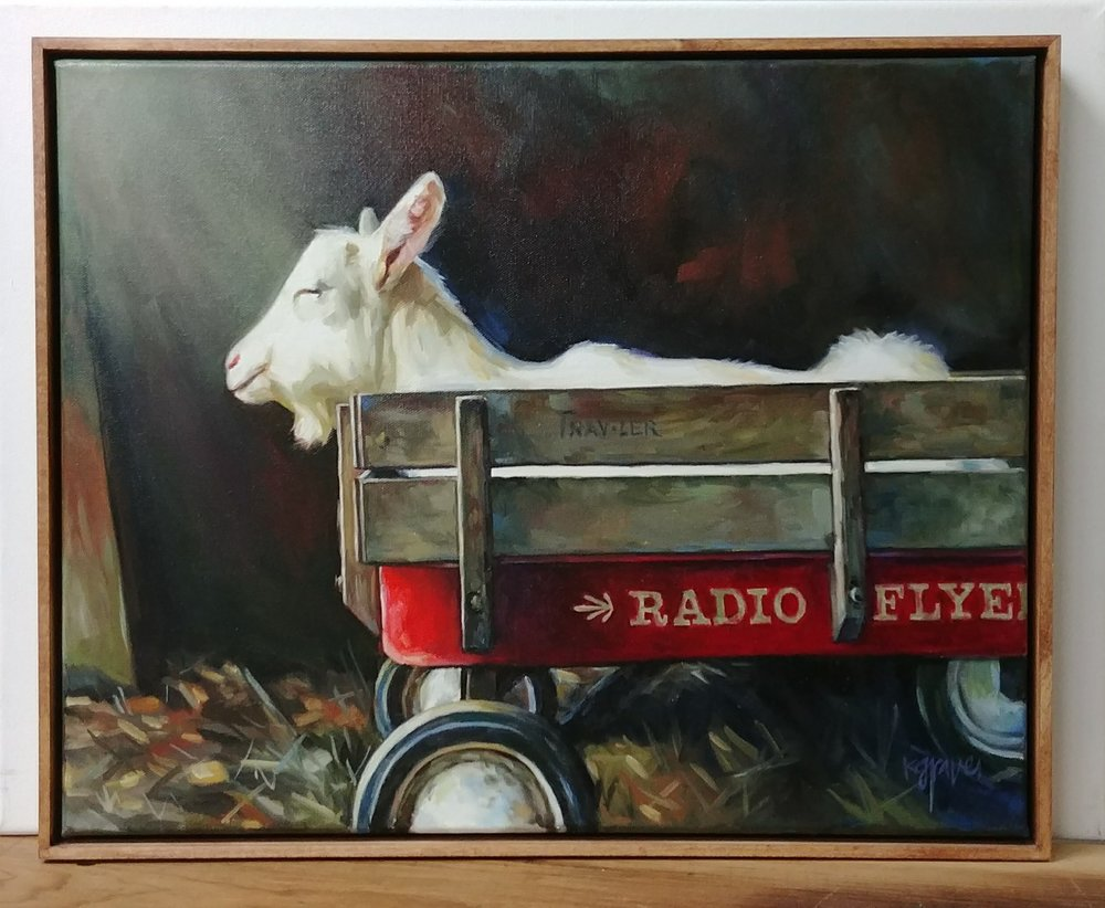 Rescue Goat, 16x20 canvas, Framed. $450