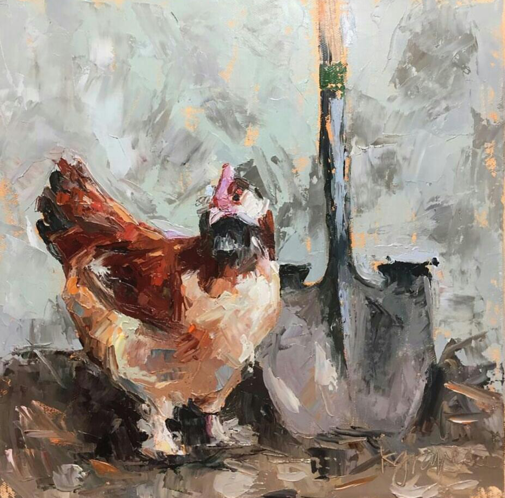 Palette Knife Chicken, 12x12