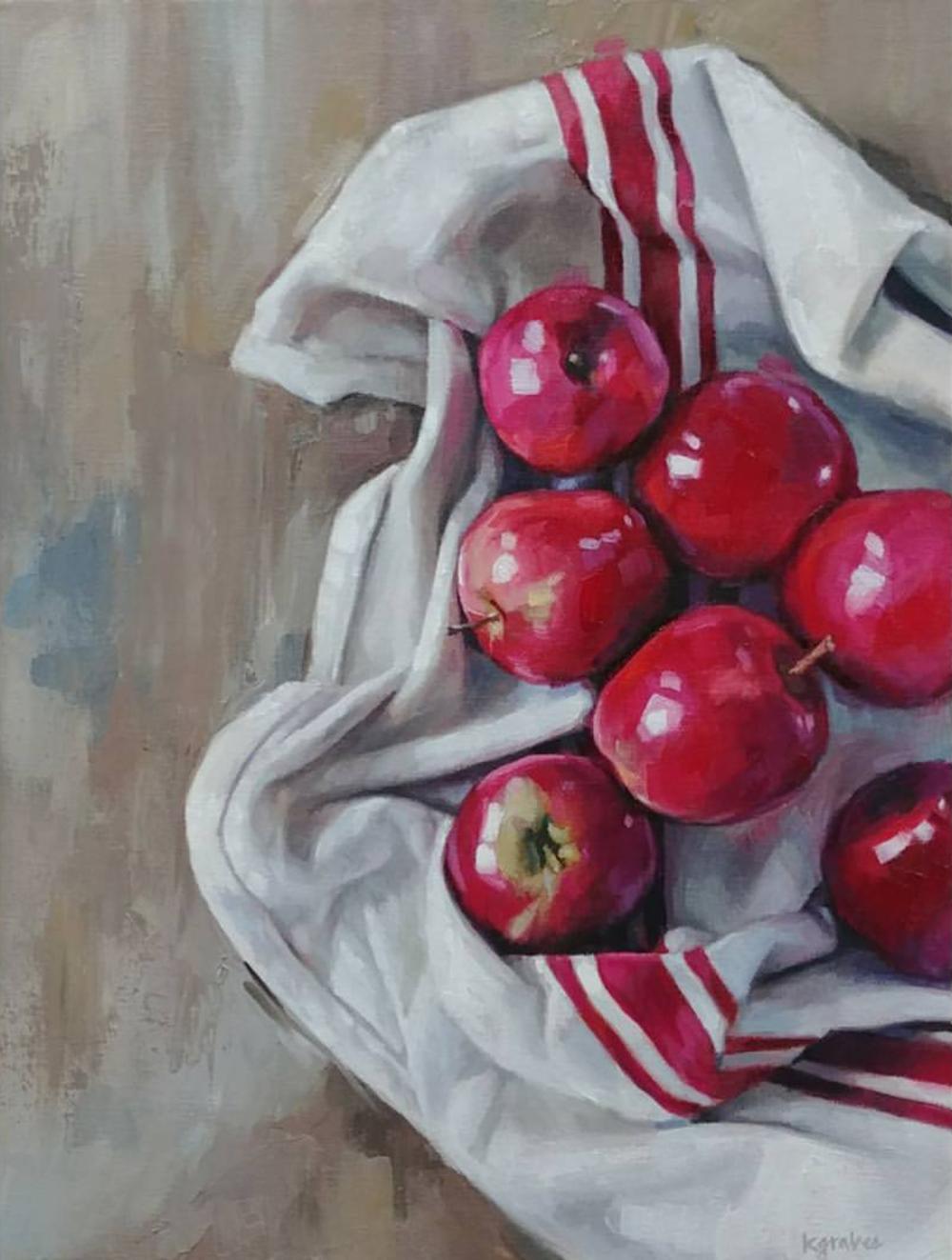 Apples on Cloth, 12x16