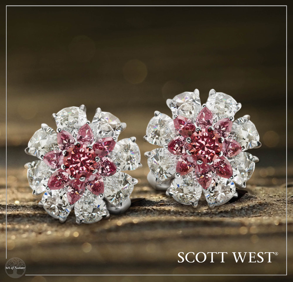 Scott West - Pink Diamond Button Earrings Pink Diamond Button Earrings, 14.83 ctw Inquire