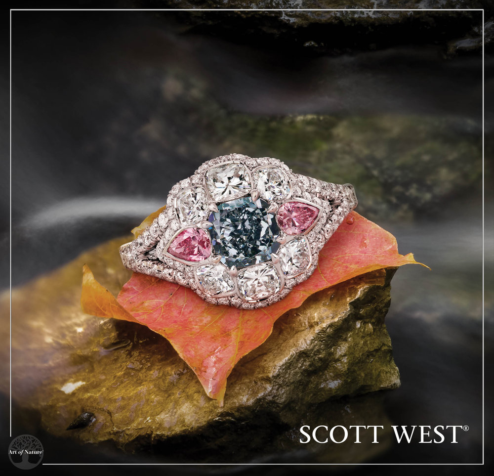 Scott West - Fancy Blue & Pink Diamond Ring   Fancy Gray Blue, 1.13 ct and Intense Purplish Pink, 0.36 ct   Inquire