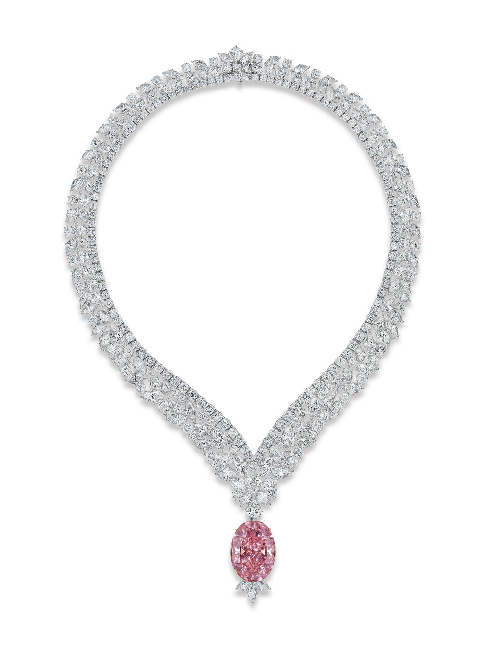 The Juliet Pink Diamond - set in a magnificent necklace with marquise, pear and round-cut shape white diamonds