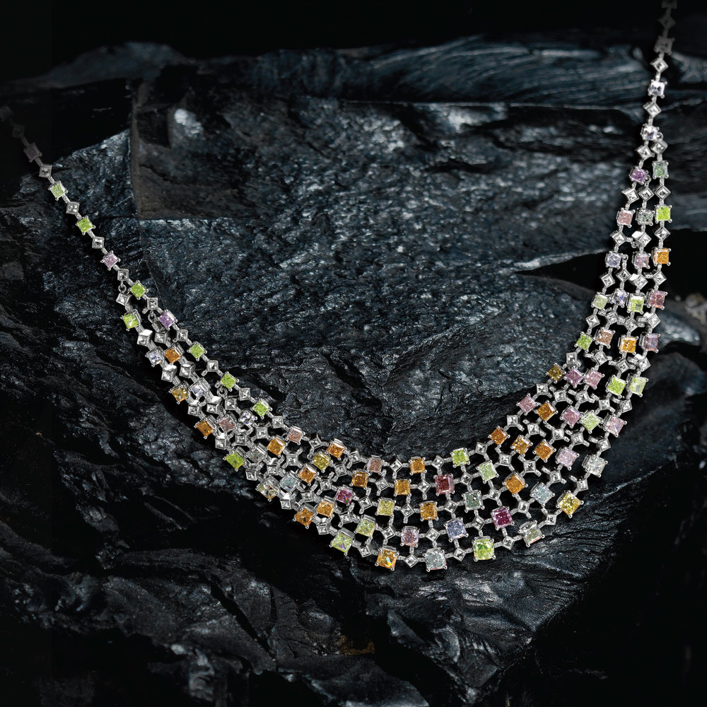 The Rainbow Necklace – a glorious and brilliant design that features over more than 100 rare natural color diamonds from the vast color spectrum