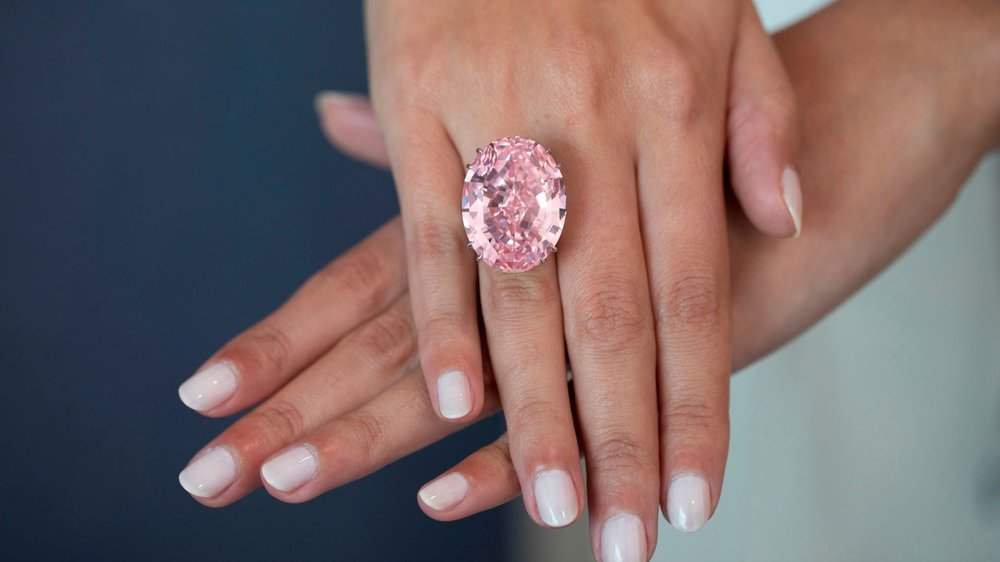 "The ""Pink Star"" weighs 59.60-carats, and is the most valuable polished diamond ever offered at auction. Image courtesy of CNN, Sotheby's"