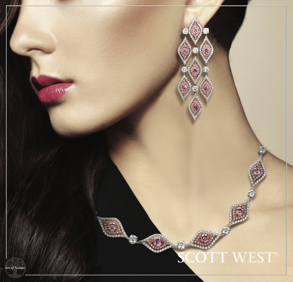 Scott West - Argyle Pink Diamond Necklace & Earrings A rare collection of round brilliant Argyle Pink diamonds featured in a stunning necklace and drop earrings. Simply marvelous. Inquire