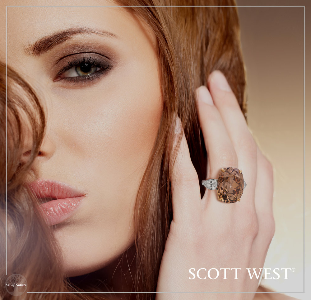 Scott West - The Big Brown Ring Fancy Yellow Brown Cushion, 23 ct Inquire