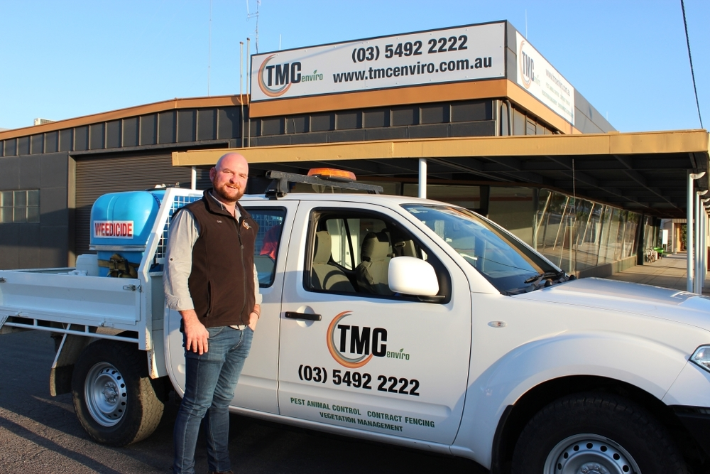 Daniel McLoughlan outside TMC Enviro's headquarters which has recently relocated into the old O'Connor site in Birchip.
