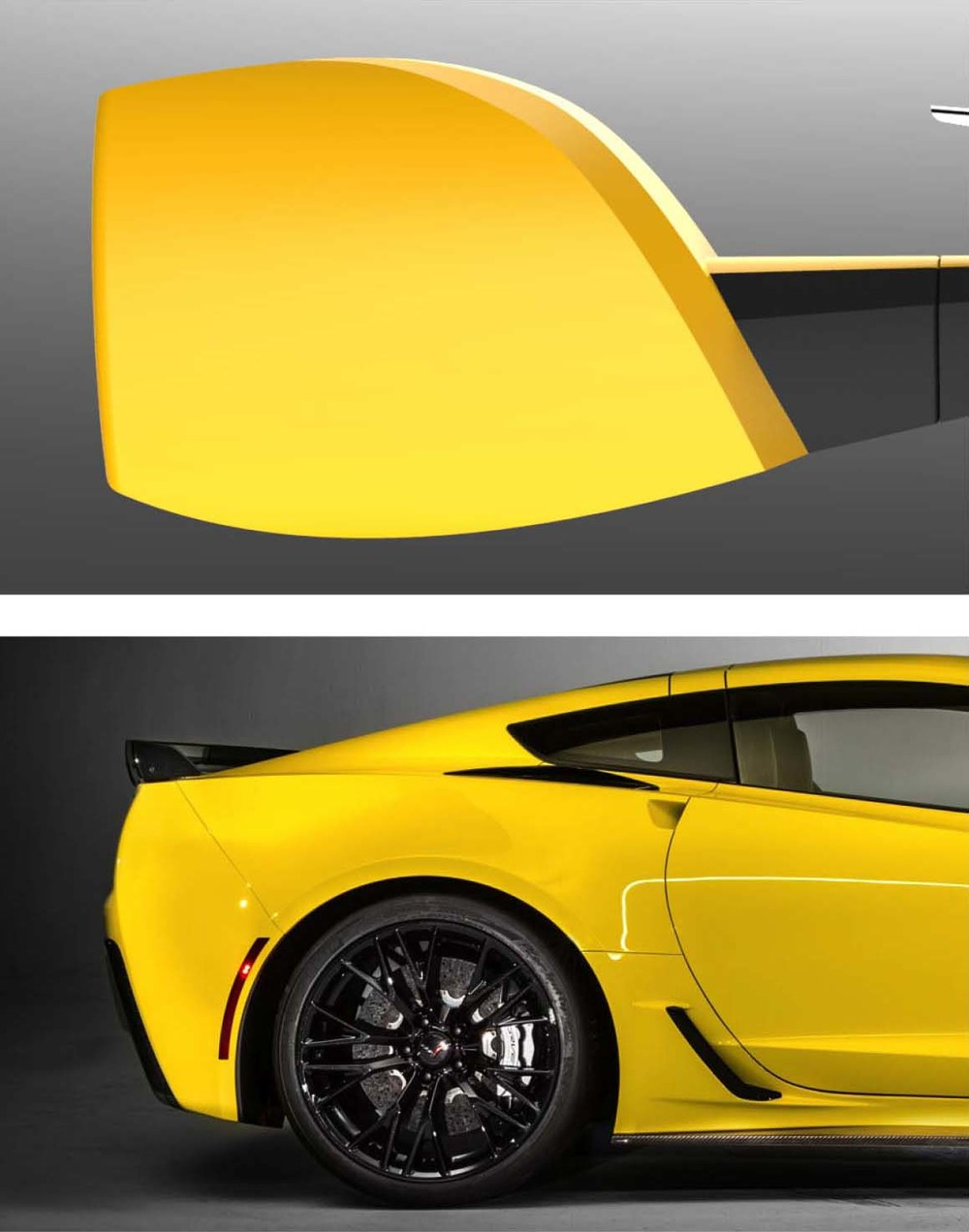 The hip profile differentiate the Corvette from other sports cars. A crisp chamfer references the sharp crease language on the hood.