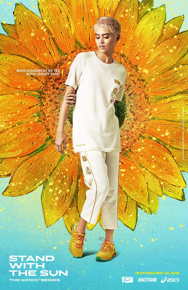 REBECCA L'AMORE PRINCESS CYBERSPACE ASICS STAND WITH THE SUN SUNFLOWER CAMPAIGN 2018