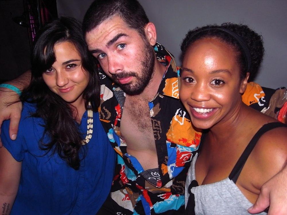 Taylor aka my Italian sis + a still nearly shirtless Jerome + Regina the Parrot
