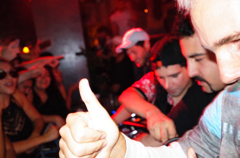 Here's an amazingly focused photo of an epic SkrillexB2B What So NotB2B Valentino KhanB2B Baauerimpromptu set