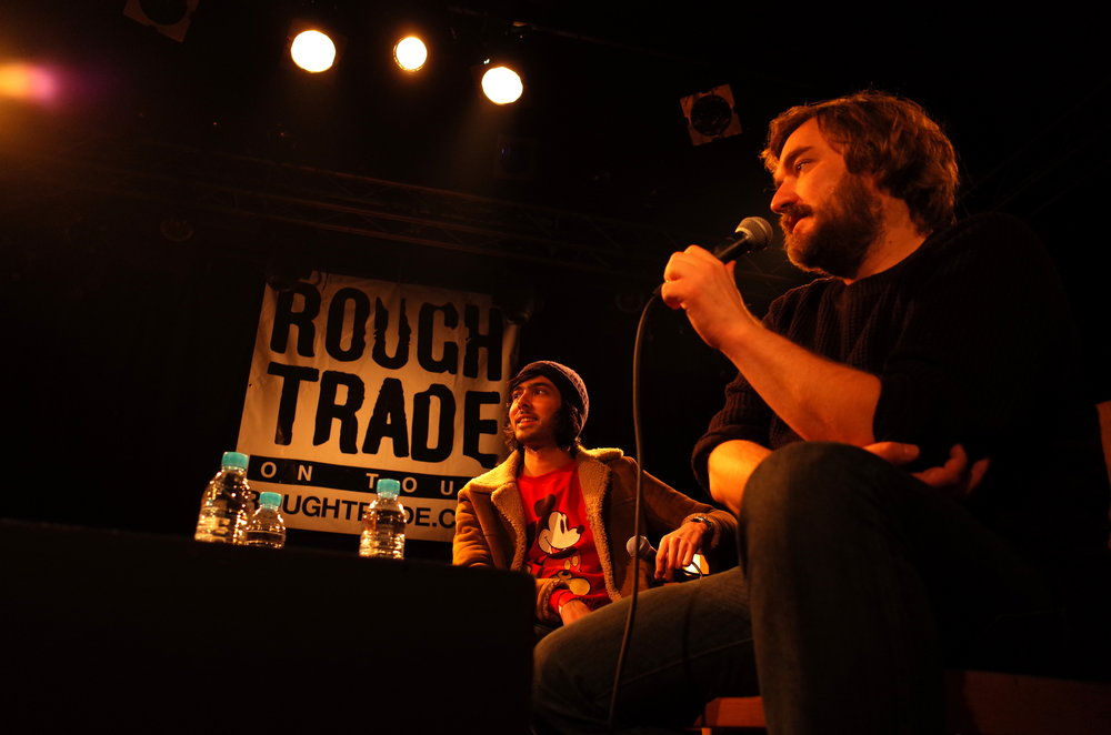 Wandered into a Q&A in French w/ Justice and Pedro at the Rough Trade Popup.  I don't speak French.