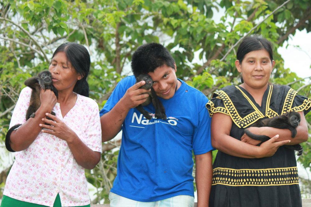 Local Panamanian Employees of Alouatta Sanctuary: Ofelia, Juan and Amelia