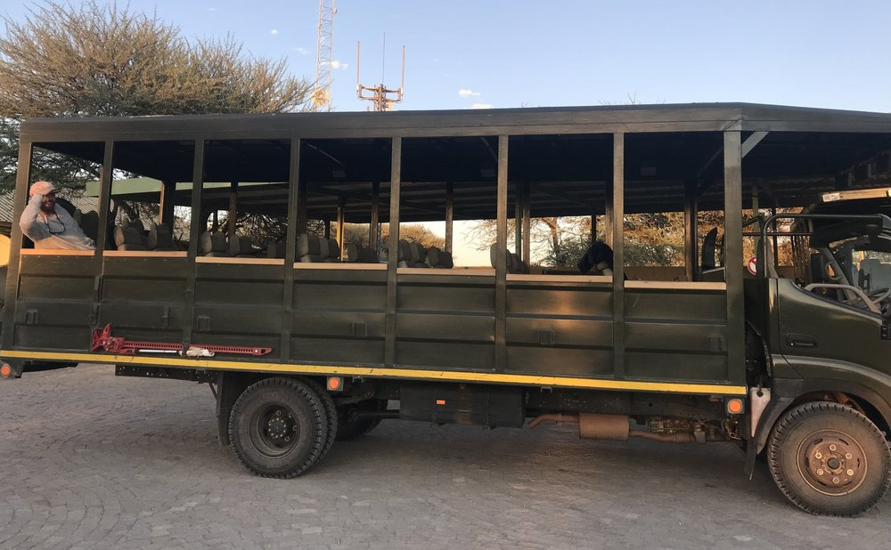 Yes, this really was our safari vehicle one morning. 32 seats, 2 people, 1 badass wildlife tracker.