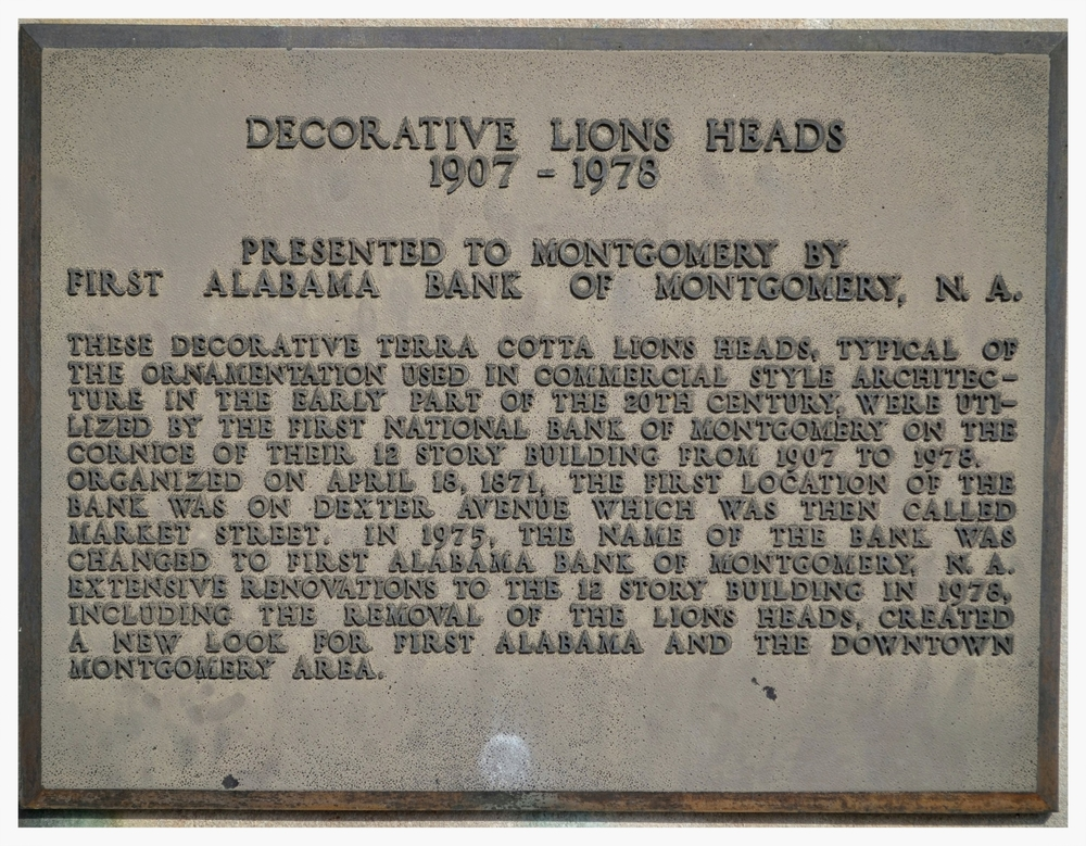 Decorative Lions Heads plaque, Court Square, Montgomery, Alabama