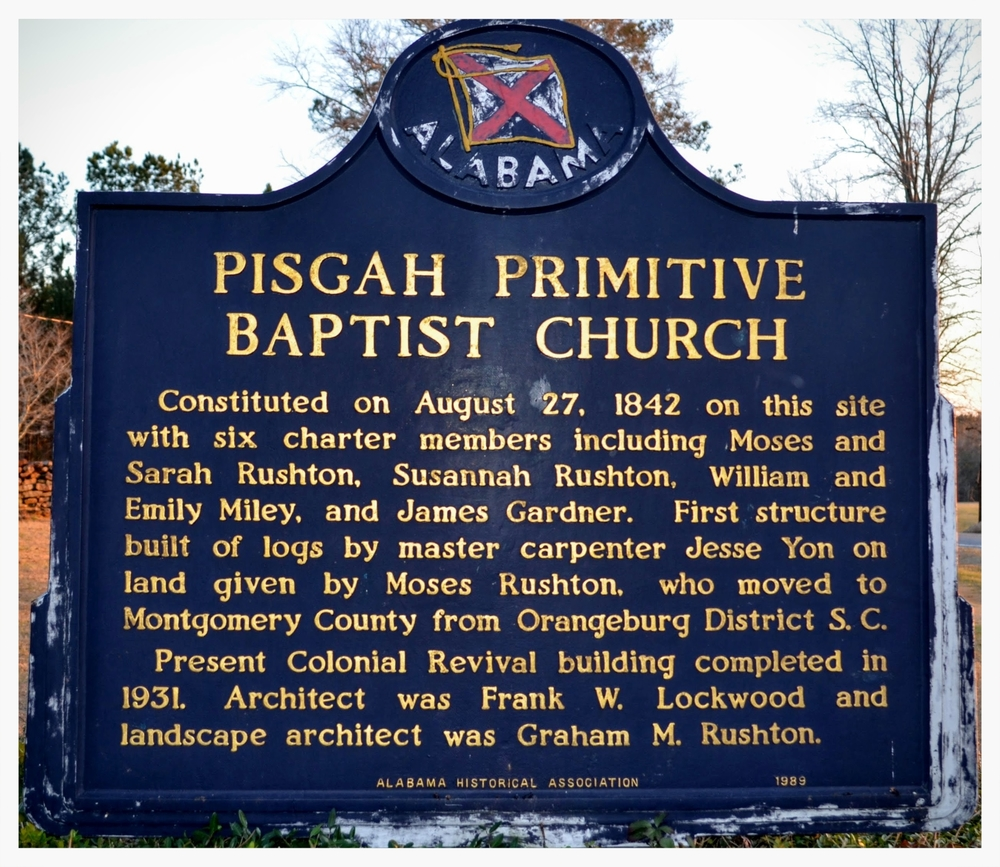 Historical Marker, Pisgah Primitive Baptist Church, Montgomery County, Alabama