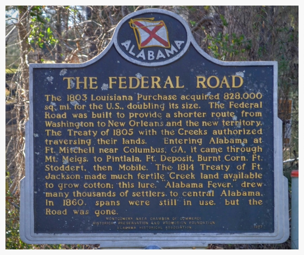 The Federal Road historical marker, Hope Hull, Montgomery County, Alabama