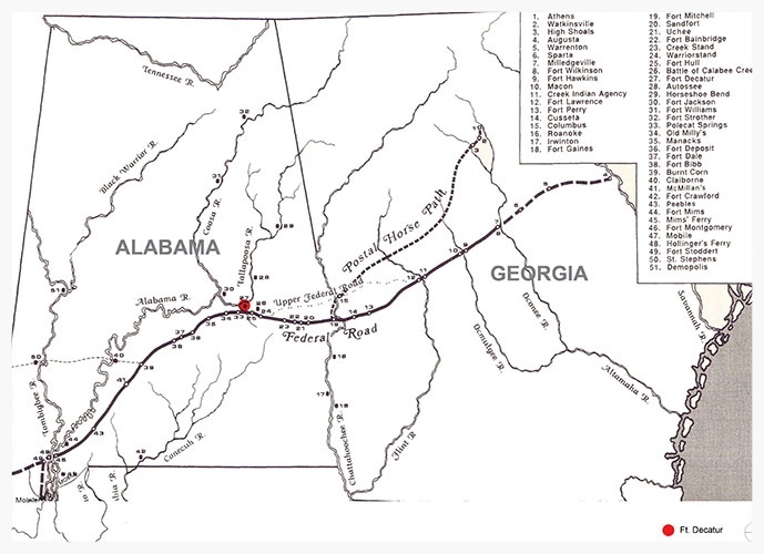 Map of the Old Federal Road (courtesy of the University of Alabama)