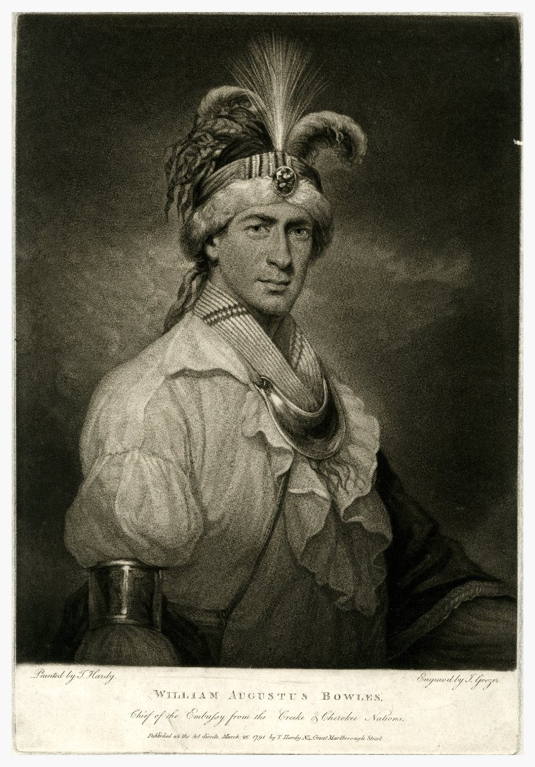 William Augustus Bowles, aka Estajoca, 1791 (image courtesy of The British Museum)