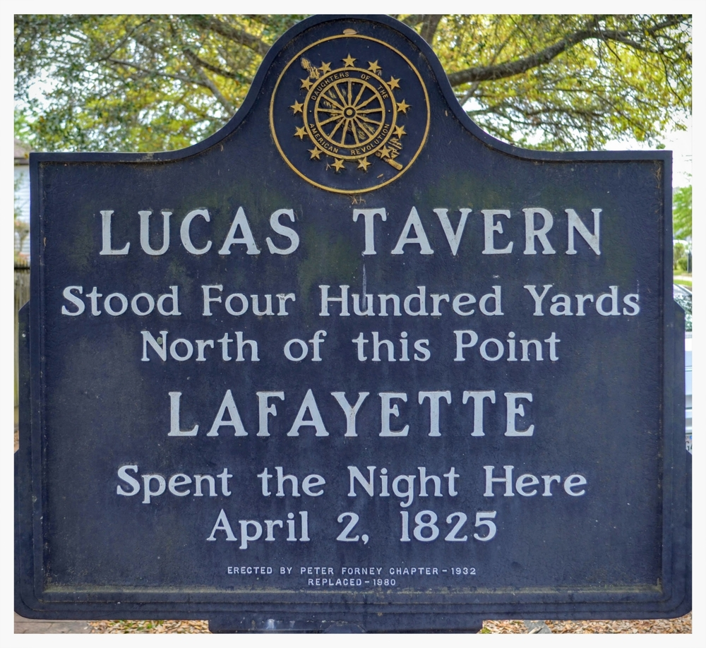 Original Lucas Tavern D.A.R. historical marker, now standing next to the building in Old Alabama Town, Montgomery, Alabama