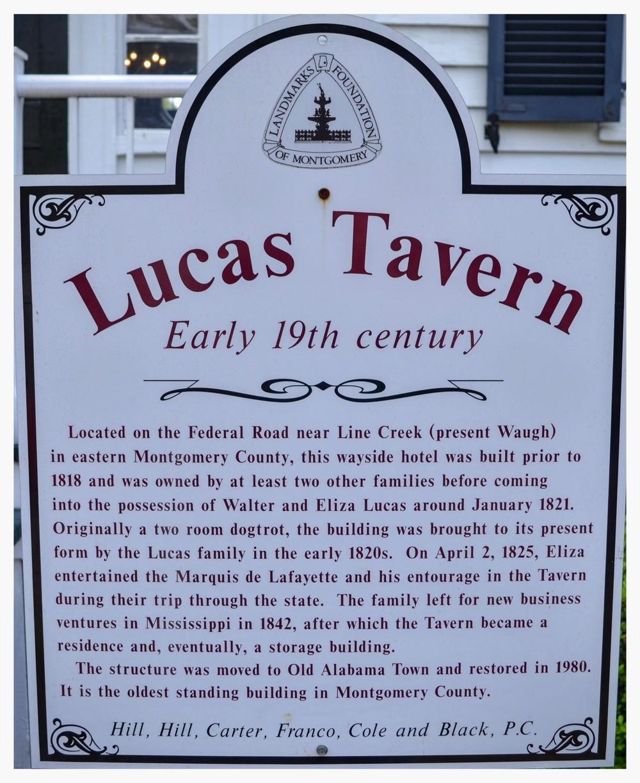 Lucas Tavern information placard, Old Alabama Town, Montgomery, Alabama