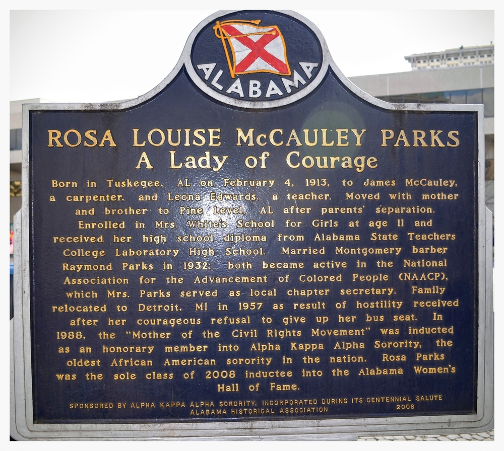 Rosa Louise McCauley Parks historical marker, Court Square, Montgomery, Alabama