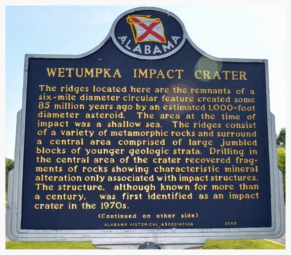 Wetumpka Impact Crater historical marker, Wetumpka, Elmore County, Alabama