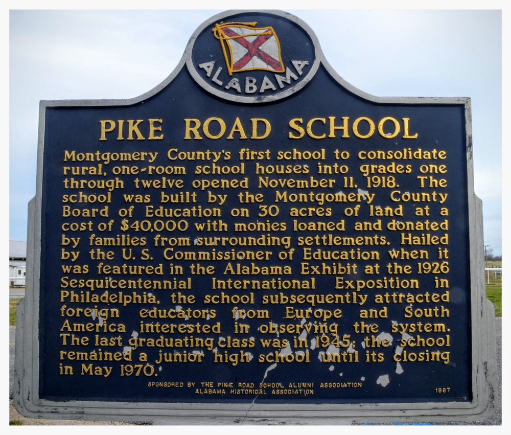 Pike Road School historical marker, Pike Road, Montgomery County, Alabama